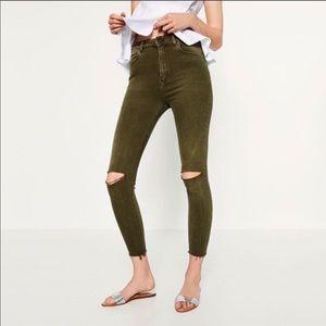 Zara Woman Premium Denim High-Waist Raw Hem Jean